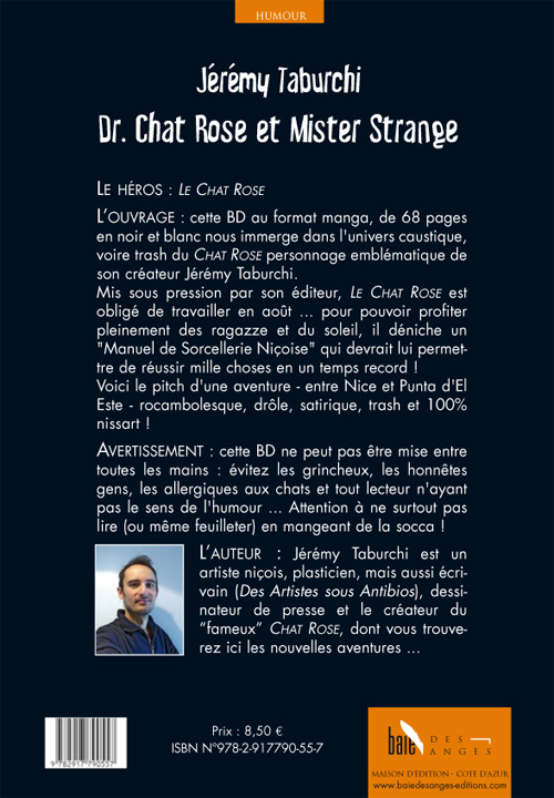 """4ème de couverture de la BD """"Dr. Chat Rose et Mister Strange"""" par Jérémy Taburchi"""