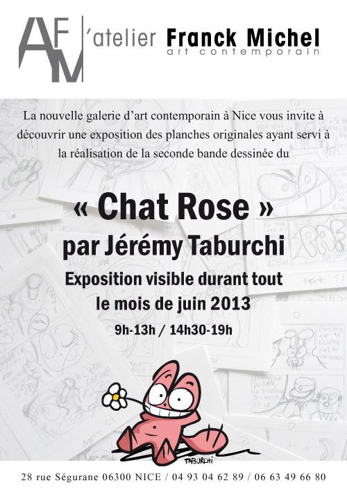 Flyer pour l'exposition des planches originales de la bande dessinée du Chat Rose par Jérémy Taburchi à l'Atelier Franck Michel.