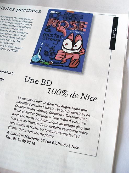 Article sur la nouvelle BD du Chat Rose dans le supplément Femina de Nice Matin.