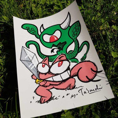 Un dessin du Chat Rose contre le Coronavirus